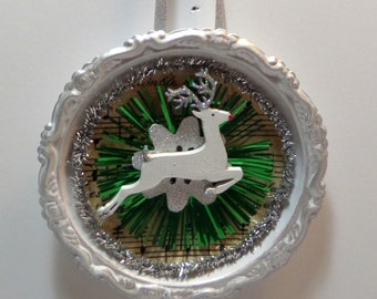 Silver Coaster Ornament - Painted and Gilded - Vintage Music Print, Green Tinsel Reflector, Glittered Leaping Deer