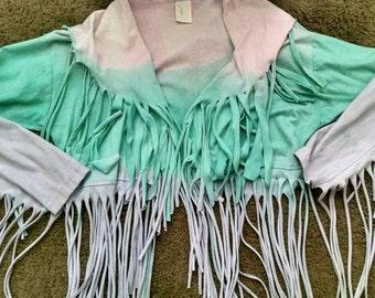 Dip Dye Fringe Hippie Jacket Size S/M