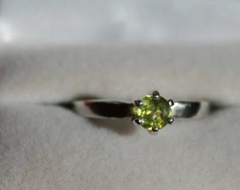 Sphene Ring Petite Round Solitaire Sterling Silver Engagement Wedding Promise Ring