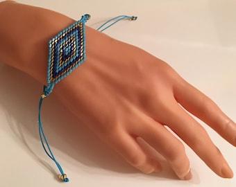 Miyuki Tassel Bracelet, Blue Bracelet, Ethnic Bracelet, Boho Bracelets, Adjustable Bracelet, Evil Eye Bracelets,Minimalist Style, Frienship