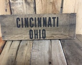 Cincinnati Ohio wooden sign