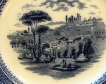 Vintage China FLOW BLUE Staffordshire Plate, BYZANTIUM, English Farmhouse, Cottage  Decor, Antique Style