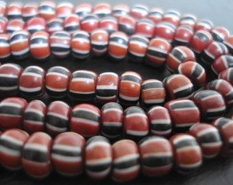 Vintage Beaded Necklace ~ Burgundy with Black and White Stripes