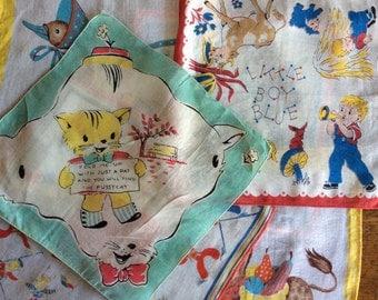 Six Children's Hankies Vintage Super Sweet