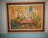 ABSTRACT Mid Century MODERNIST PAINTING original oil on board signed