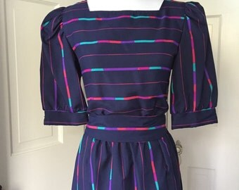 70's navy secretary with hot pink / teal / purple / fuchsia stripes