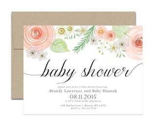 Peach Vintage Garden Baby Shower Invitation