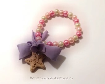 Polymer clay bracelet.