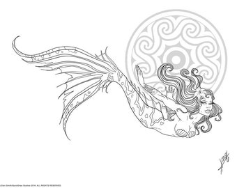 A Little Mermaid, DIY Print-at-Home Digital Download Coloring Page, Adult Coloring, Tropical, Fantasy