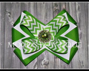Lime Chevron Ribbon Bow