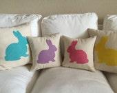 Robin Egg Blue Burlap Rabbit Pillow Cover, Easter ,Nursery Pillow Spring pillow,pink burlap,yellow burlap,lavender burlap,burlap pillow