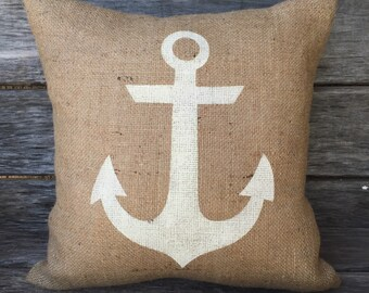 Burlap Anchor Pillow,burlap pillow,nautical pillow,beach pillow,summer decor,beach theme,white anchor pillow,red anchor pillow,blue anchor