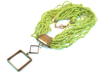 Green Knitted Necklace. Multi Strand Necklace. Crochet Necklace. Green Statement Necklace. Knitted and crochet necklace. Necklace Scarf.
