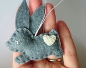 Felt rabbit hanging ornaments - grey bunny for Easter decoration - Baby shower - kids room idea for girls for boys Christmas decor