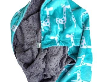Minky Kids Blanket, Minky Baby Blanket, Giraffe Baby Blanket, , Infant Blanket, Carseat Blanket, Minky Boy or Baby Girl Blanket