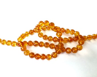 Citrine Rounds, AAA Gems, Micro Faceted, 3mm, 8 Inches
