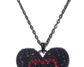 Black/Red Heart Necklace