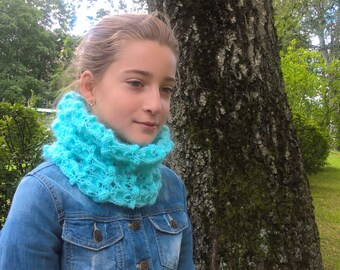 Knitted  blue woman infinity scarf