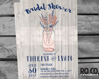 Rustic Lace Mason Jar Printable Bridal Shower Invitation