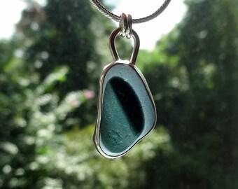 Grey and Black English Multi Sea Glass Pendant - Natural Sea Glass, Genuine Sea Glass