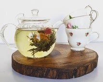 Blooming Flower Green Artisan Tea - Organic Full Leaf  Tea / Blossom / Floral Tea / Tea Lovers Gift in Wooden Box