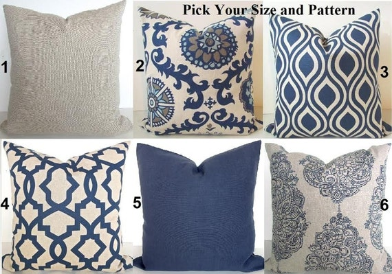 Tan Pillows Navy Blue Throw Pillow Covers Dark Blue Pillows