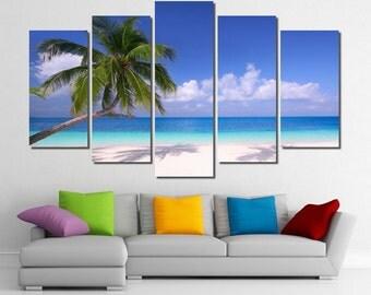 "60""x36"" Framed Huge 5 Panel Art White Sand Palm Beach Giclee Canvas Print - Ready to Hang"