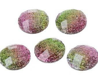 6 Pieces. Resin Flat back Cabochon 12 mm Pink and Green Glitter. Craft Supplies. DIY Supplies