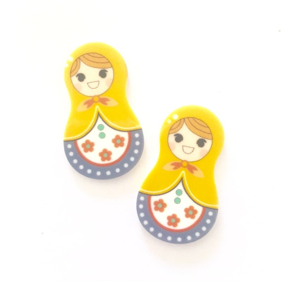 Laser Cut Supplies-2 Pcs .20mm Russian Doll Yellow Charms-Laser Cut Acrylic-Jewelry Supplies-Little Laser Lab.Online Laser Cutting Australia