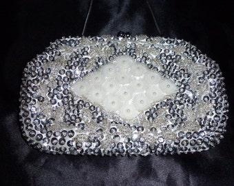 Vintage 50's 60's silver sequinned beaded purse bag new deadstock