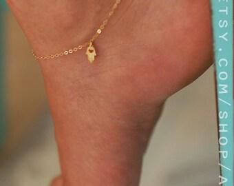 Gold anklet, charm anklet, cute anklet, heart anklet, daisy anklet, hamsa anklet, cute charm anklet, gold charm anklet, summer anklet