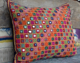 Indian mirrored cushion bohemian pillow 70's decor hand embroidered tribal case gypsy Rajasthan Gujarat ethnic nomad style Banjara Rabari