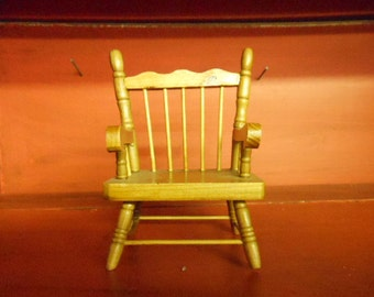 "Vintage Pine Dollhouse Furniture Primitive Spindle Back Kitchen Chair Country Style Fun Miniature Accessory 5 3/4 "" High 4 1/2"" Wide"