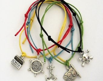 5 Pirate Mix Charm Friendship Bracelets - Skull Chest Flag Wheel Anchor - Boys Party Bags