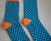 Women Socks, Unisex Socks, Casual Socks, Cotton Socks,Turquoise Socks, Women Socks, polkadot socks, Ankle Socks, Women gift ideas