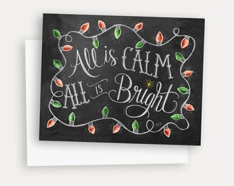 Chalkboard Christmas Card - All Is Calm All Is Bright Christmas Card - Holiday Chalk Art - Christmas Lights - Illustration - Chalk Art