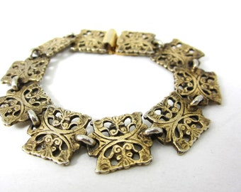 antique bracelet brass filagree links 1940s