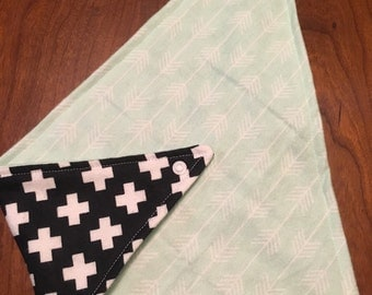 Mint Arrows with Black and White Plus Signs Flannel Reversible Bandana Bib