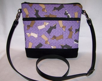 New Purple Dancing Dachshund-Wiener Dog Cross-Body Bag