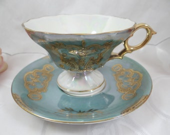 Spectacular 1930s Vintage Blue Moriage Lusterware Iridescent Pedestal Teacup and Saucer Japanese Tea Cup