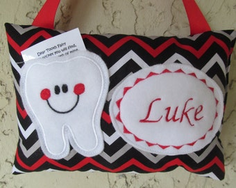Tooth Fairy Pillow Personalized Chevron Black/Gray/ Red