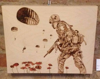 Parachuting Poppies Pyrography and Coloured Pencil on Birch Wood Panel