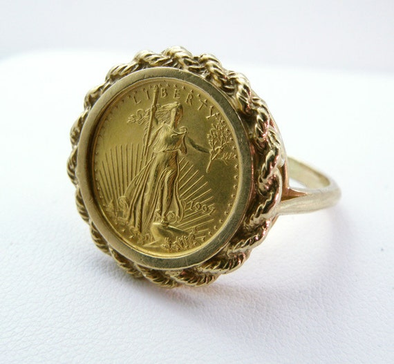 1997 Us 5 Dollar Gold American Eagle Coin Ring Size 10 Sku