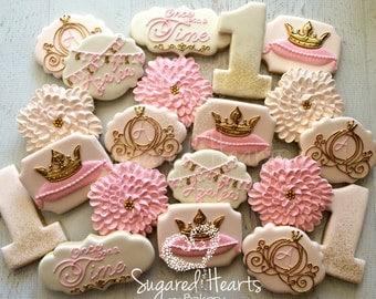 Princess Pink and Gold Birthday Cookies - 1 Dozen
