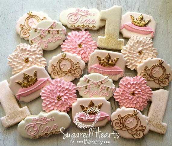 Princess Pink And Gold Birthday Cookies 1 Dozen