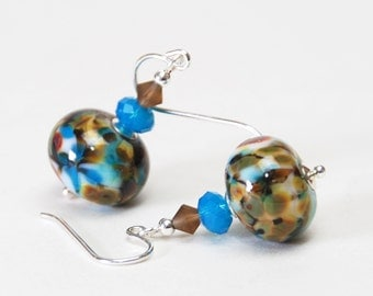Brilliant Blue and Brown Lampwork Glass Earrings - Sterling Silver Earwires
