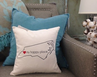 MY HAPPY PLACE: State of North Carolina - Pillow