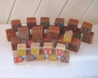 Large collection of vintage wood toy blocks, alphabet blocks