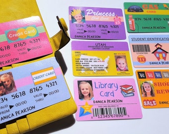 Set B - BOY or GIRL Pretend Drivers License, Credit Cards, ID Card, Gas Card -Personalize Children Toy - Girl Princess -Made To Order-