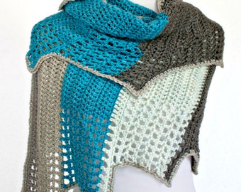 Crochet Pattern Wrap Shawl Cowl Scarf, Blue Ridge, PDF 16-260